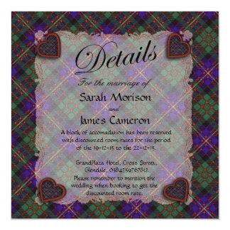 "Cameron of Erracht Scottish clan tartan - Plaid 5.25"" Square Invitation Card"