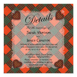 Cameron Scottish clan tartan - Plaid 5.25x5.25 Square Paper Invitation Card