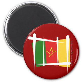 Cameroon Brush Flag 6 Cm Round Magnet