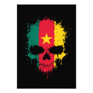 Cameroon Dripping Splatter Skull Personalized Announcements