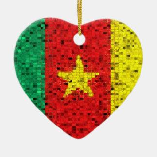 Cameroon Flag glitter ornament