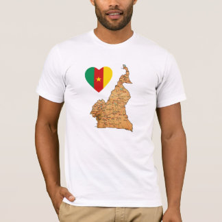 Cameroon Flag Heart and Map T-Shirt