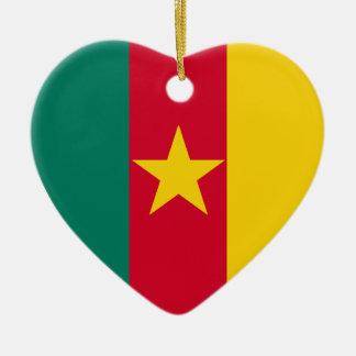 Cameroon Flag Heart Ceramic Heart Decoration