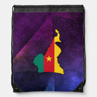 cameroon Flag Map on abstract space background Drawstring Backpack