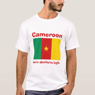Cameroon Flag + Map + Text T-Shirt