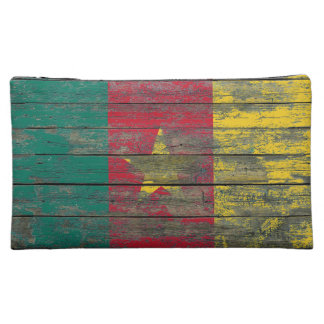 Cameroon Flag on Rough Wood Boards Effect Cosmetic Bag