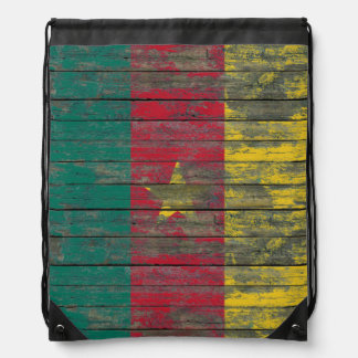 Cameroon Flag on Rough Wood Boards Effect Drawstring Bag