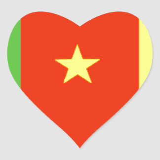 Cameroon Flag Heart Stickers