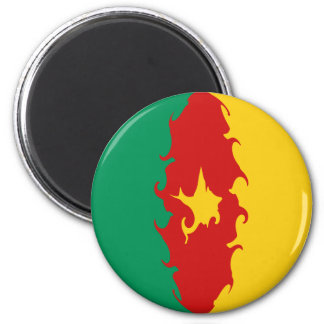Cameroon Gnarly Flag 6 Cm Round Magnet