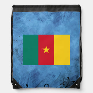 Cameroonian flag drawstring backpacks