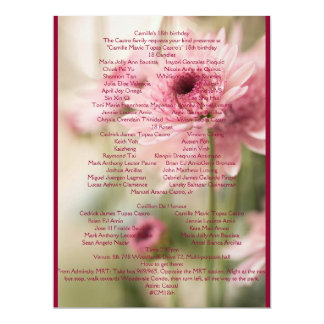 CAMILLE 18TH 17 CM X 22 CM INVITATION CARD
