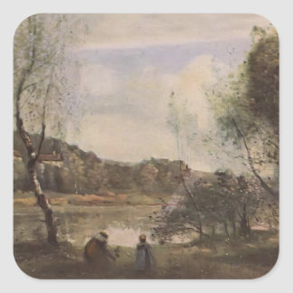 Camille Corot- Pond of Ville d Avray Square Stickers