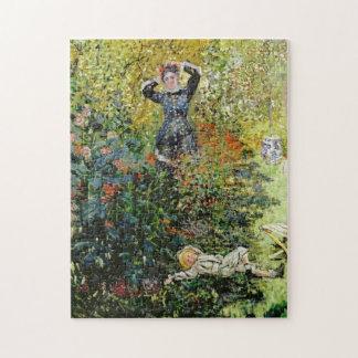 Camille & Jean in Garden Argenteuil Monet Fine Art Jigsaw Puzzle