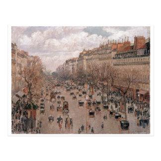 Camille Pissaro - Boulevard Monmartre Paris 1897 Postcard