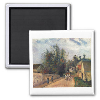 Camille Pissaro - Coach, Emery 1877 horse road oil Square Magnet