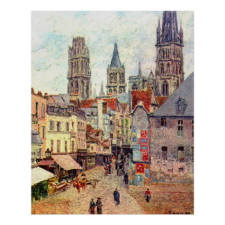 Camille Pissarro - 1898 Grocery Rue Rouen Oil Poster