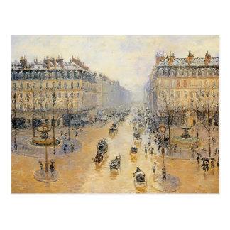 Camille Pissarro- Avenue de l'Opera, Snow Effect Postcard