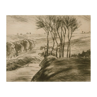 Camille Pissarro - Landscape Near Osny (State II) Wood Prints