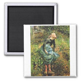Camille Pissarro - Peasant Girl w. Stick 1881 Oil Magnet