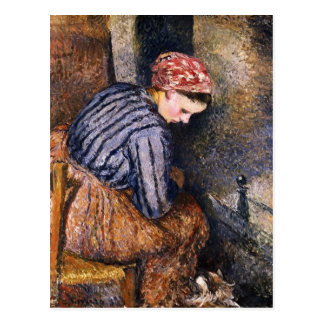 Camille Pissarro- Peasant Woman Warming Herself Postcard