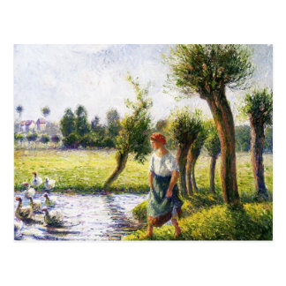 Camille Pissarro- Peasant Woman Watching the Geese Postcard