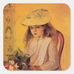 Camille Pissarro- Portrait of Jeanne Square Stickers