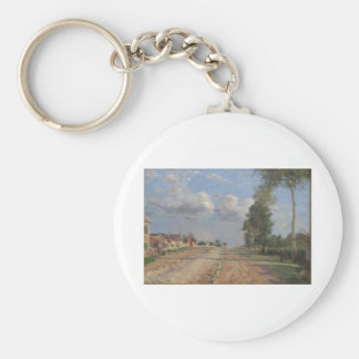 Camille Pissarro - Road to Versailles 1870 oil Basic Round Button Key Ring