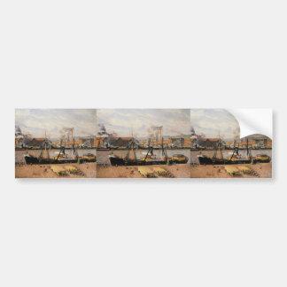 Camille Pissarro- Rouen Port, Unloading Wood Bumper Sticker