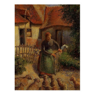 Camille Pissarro- Shepherdess Bringing in Sheep Postcard