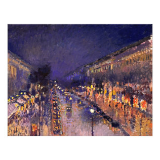 Camille Pissarro The Boulevard Montmartre At Night 21.5 Cm X 28 Cm Flyer