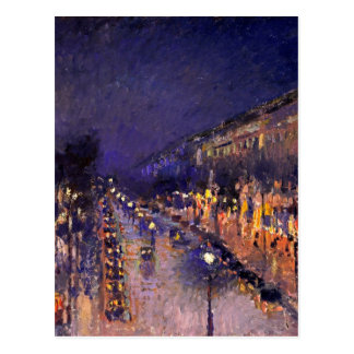 Camille Pissarro The Boulevard Montmartre At Night Postcards