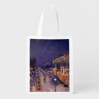 Camille Pissarro The Boulevard Montmartre At Night Reusable Grocery Bag