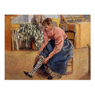 Camille Pissarro- Woman Putting on Her Stockings Postcard