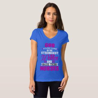 CamisetaJersey Collar V God Created Nurses Women T-Shirt