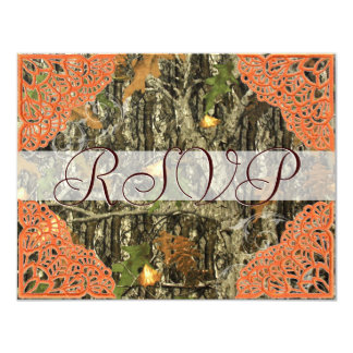 Camo and Antique Orange Lace Wedding RSVP 11 Cm X 14 Cm Invitation Card