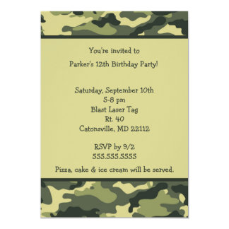 Camo Army Green Birthday party invitation