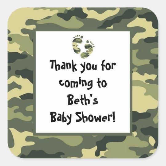 Camo Baby Shower Feet Favour Sticker green