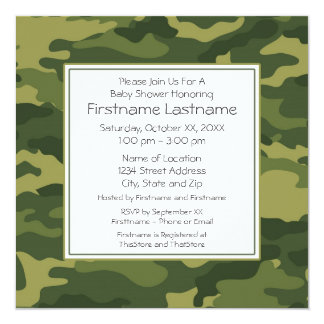 Camo Baby Shower or Party 13 Cm X 13 Cm Square Invitation Card