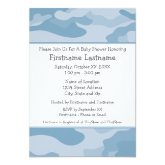 Camo Baby Shower or Party - light blue 13 Cm X 18 Cm Invitation Card
