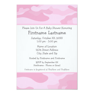 Camo Baby Shower or Party - light pink 13 Cm X 18 Cm Invitation Card