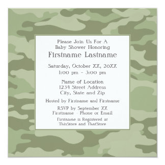 Camo Baby Shower or Party - soft army green 13 Cm X 13 Cm Square Invitation Card