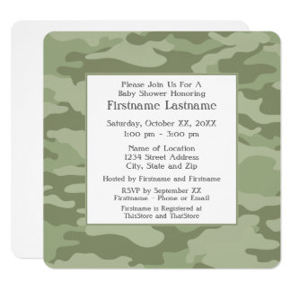 Camo Baby Shower or Party - soft army green Card