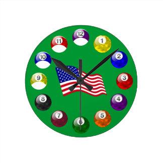 Camo Ball Teal Felt Pool Clock with American Flag