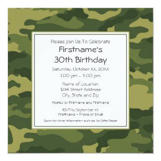 Camo Birthday Party 13 Cm X 13 Cm Square Invitation Card