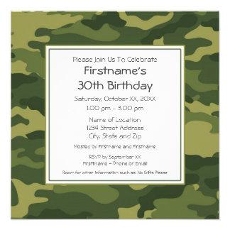 Camo Birthday Party Custom Invites