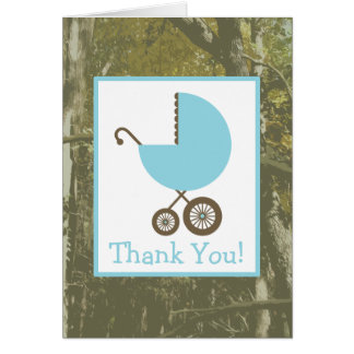 Camo & Blue Carriage Baby Shower Thank You Card