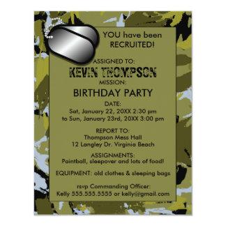 Camo Boy's Birthday Party Invititation 11 Cm X 14 Cm Invitation Card