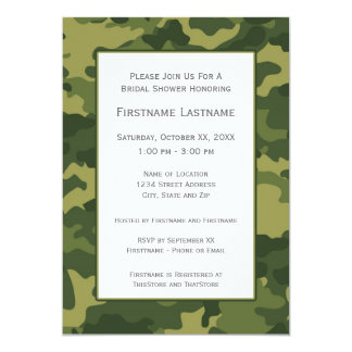 Camo Bridal Shower or Engagement Party 13 Cm X 18 Cm Invitation Card