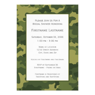 Camo Bridal Shower or Engagement Party Personalized Announcements