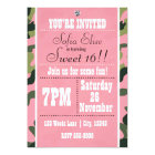 Camo Camouflage &  Pink Birthday Party Invitation